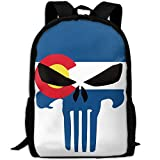 Colorado Flag Skull Fashion Outdoor Shoulders Bag Durable Travel Camping Backpack For Adult