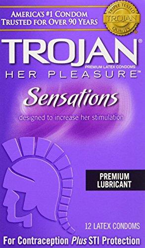 Trojan Condom Her Pleasure Sensations Lubricated, 12 Count Pack of 6 by Trojan