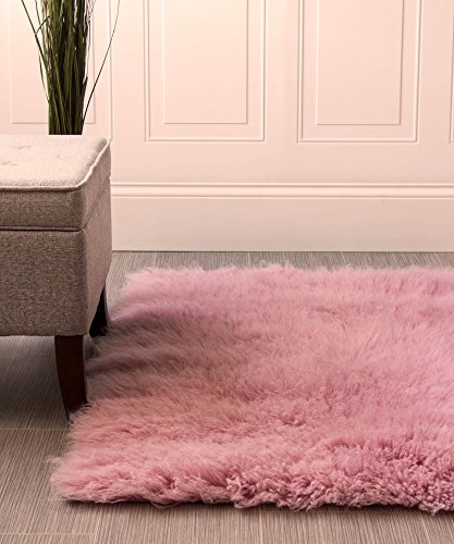 - Super Area Rugs-Cozy Collection-Flokati Wool Shag Rug (Soft Pink, 5ft. X 7ft.)