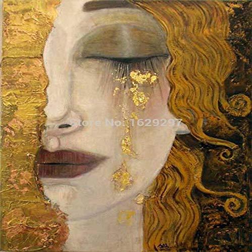 TELEGLO lagrimas Doradas Pinturas de Gustav Klimt Reproduccion al oleo sobre Lienzo Pintado a Mano Hermosa Mujer Obra de Arte para decoracion de Paredes Alta Q 30X40 CM