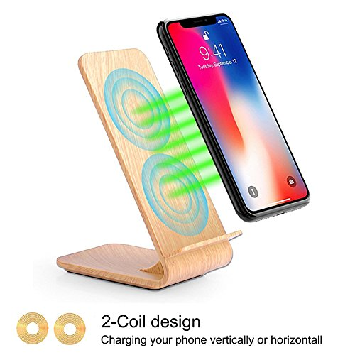 Fast Wireless Charger, Yolike 2 Coils Wireless Charger Wood Grain A8 for iPhone 8/8 Plus, iPhone X, Fast Wireless Charging for Samsung Note8 S8 S8+ S7 S7 Edge S6 Edge+ Note5 (Plastic Material)
