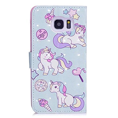 COWX Samsung Galaxy S7 edge Hülle Tasche Handyhalter PU Lederhülle für Samsung Galaxy S7 edge Tasche Brieftasche Schutzhülle Einhörner qFmxRWONtX