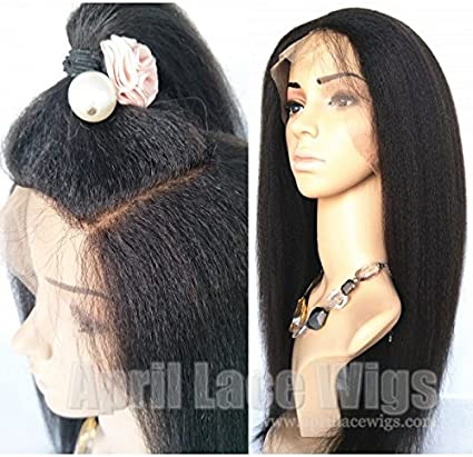 April Lace Wigs 360 Wig Italian Yaki Pre Plucked Bleached Knots Human Hair Wigs Brazilian Virgin 180 Density With Baby Hair Natural Hairline 18 Silk Top Amazon Co Uk Beauty