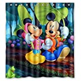 Zaza Custom Mickey-Mouse-and-Minnie-Mouse Waterproof Bathroom Shower Curtain 66