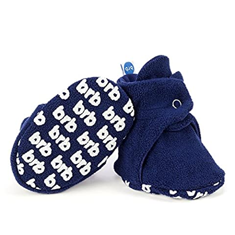 BirdRock Baby Fleece Booties - Organic Cotton Lining and Anti-Slip Grippers (US 2.5 | 3-6 Months | 4.0in Sole, (Booties With Rattles)