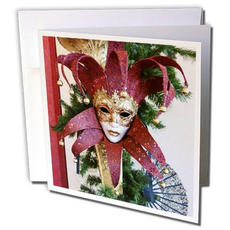 3dRose Red and Gold Vintage Mardi Gras Mask - Greeting Cards, 6 x 6 inches, set of 12 (gc_37256_2) (Invitations Wedding Gras Mardi)