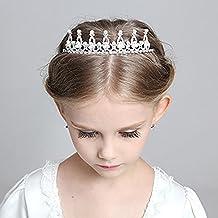 Child Crystal Tiara Crown for Flower Girls, Pearl Princess Costume Crown