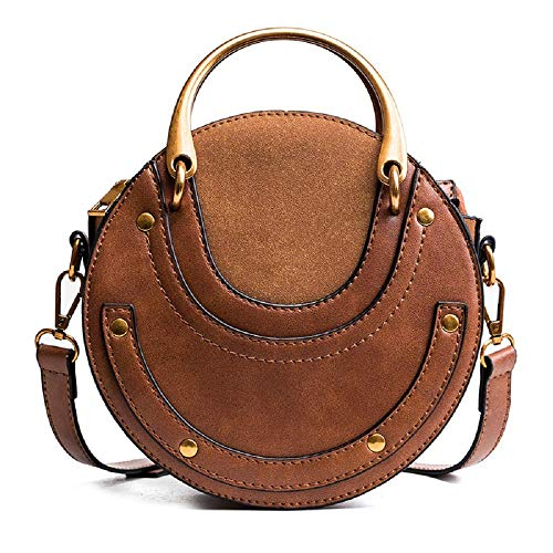 - MASARA Women Round Horseshoe Style Bags Rivet Retro Shoulder Crossbody Bag Handbag
