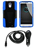 Motorola Droid Turbo 2 XT1585 (Verizon) Case - Black and Blue [Premium Dual Layer Kickstand Shock Absorber] + Atom LED + 2.1A (2100 mAh Output) Turbo Micro USB Car Charger