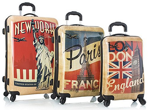 Heys Vintage Traveller-Paris London & New York-3pc Set