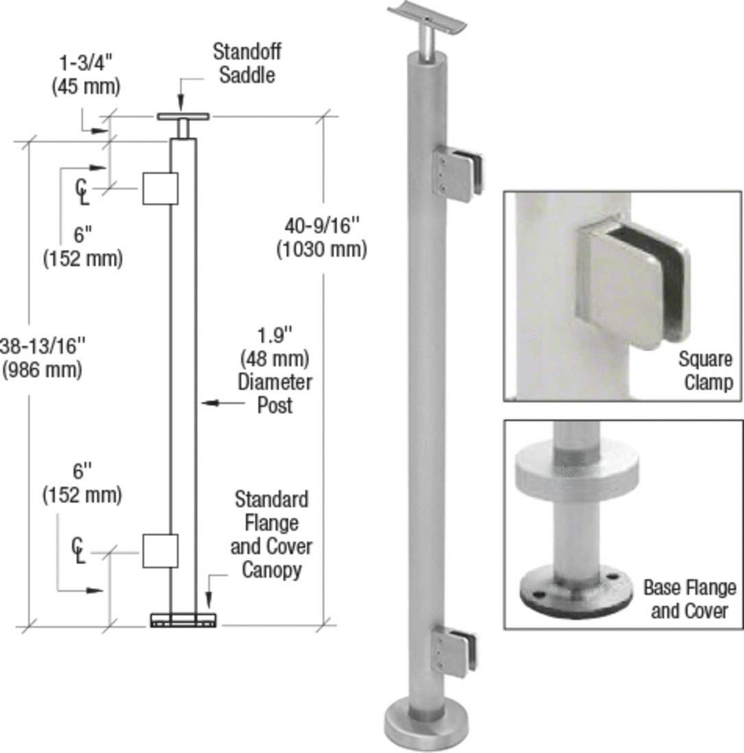 CRL Brushed Stainless 1.9'' Diameter Square End Square Clamp Post Kit