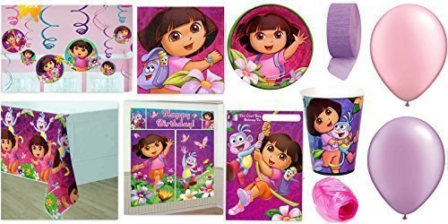 Dora's Party Supplies for 16 - Table Cover, Cups, Napkins, Plates, Treat Bags, Invitations, Stickers, Swirl Decorations, Scene Setter, Curling Ribbon, Streamer, & Balloons - This Bundle Has 127 Pieces