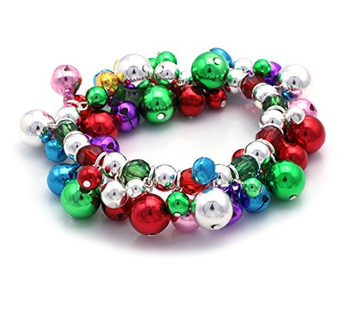 cocojewelry Christmas Jingle Bell Bead Stretch Bracelet