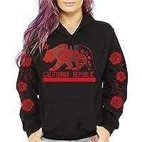 CaliDesign Women's California republic Roses Sleeve Pullover Sweatshirt Hoodie
