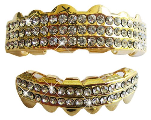 Gold-Tone Hip Hop Removeable Mouth Grillz Set (Top & Bottom) ''Ballers Ice''