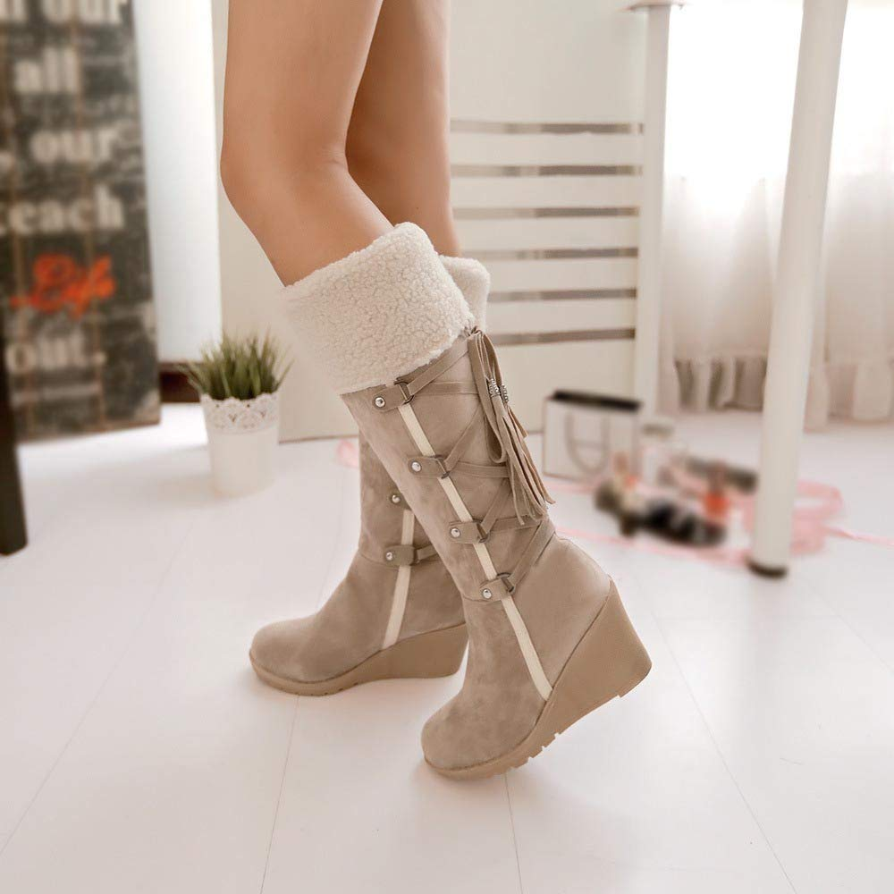 Lurryly❤Womens Fashion Winter Snow Boots Tassels High Boot Classic Shoes
