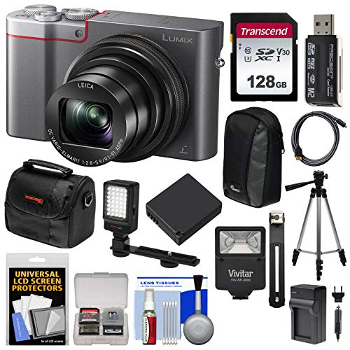 Panasonic Lumix DMC-ZS100 4K Wi-Fi Digital Camera (Silver) with 128GB Card + Cases + Battery + Charger + Tripod + Flash + Kit (Panasonic Lumix Dmc Lx100 Digital Camera Silver)