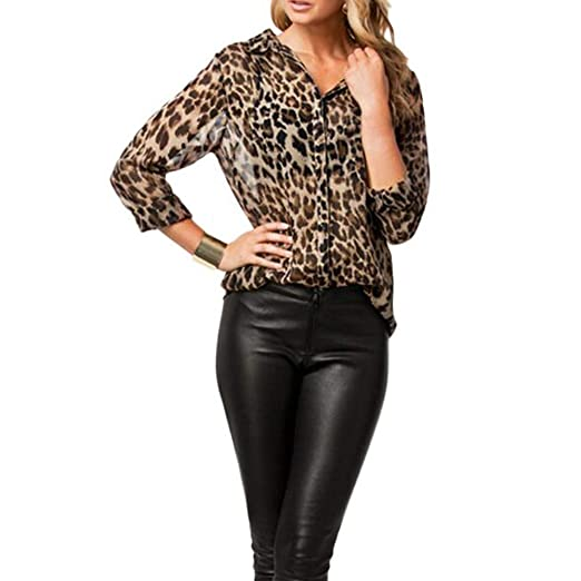 713c690f3 Women's Long Sleeve V Neck Leopard Casual Print Button Down Sheer Leopard  Print Chiffon Perspective Blouse Top at Amazon Women's Clothing store: