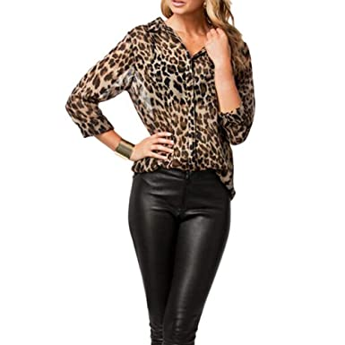 a54e3acc71a0d7 MAYOGO Dame Leopard Animal Print Top Strickjacke Chiffon Hemd Bluse Langarm  Lässige Elegant Blusen Oberteile