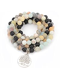M&B Premium 8mm Mala Beads Bracelet Necklace Combo - 108 Mala Prayer Beads - Yoga Necklace - Zen Jewelry