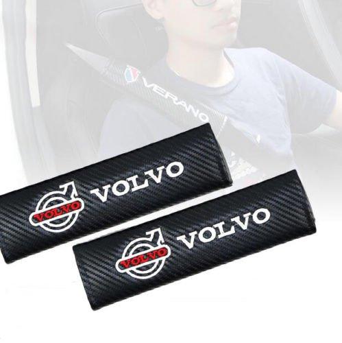 Polestar v60 XC90 S40 V70 XC70 Carbon Fibre Effect Seat Belt Shoulder Cover Pads Red