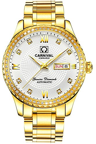 Swiss Designer Watches - Swiss Made Men Luxury Gold Watches,Automatic Analog Display Calendar Week Luminous Gold Stainless Diamond Watches (All Gold-White)
