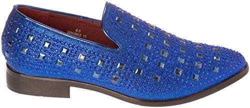 blue Shoes Slip Glitter Mens Sparkling On Fashion Dress Royal Loafer sparko11 Cvxw8