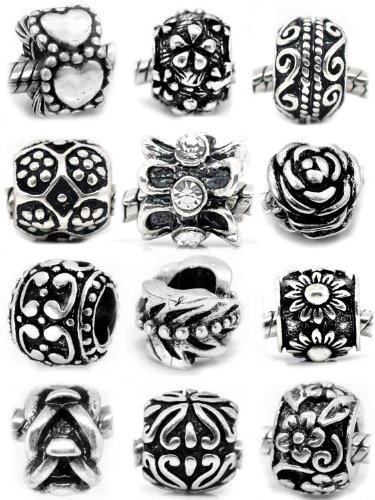 SEXY SPARKLES 10(Ten) Assorted Flower Metal Charms for European Snake Chain Charm Bracelet (Charme Und Charm Sonnenbrille)
