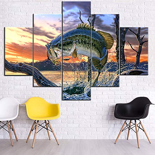 Fish Artwork for Walls Fishing Picture Large Mouth Bass Fish Paintings 5 Piece Printed on Canvas Micropterus Salmoides Pictures House Decor Stretched and Framed Ready to Hang in Kitchen(60''Wx40''H)