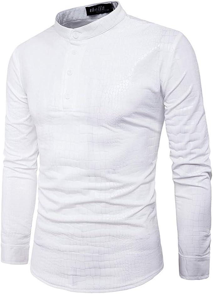 Camisas Hombre Slim Fit Transpirable Camisa de vestir de los hombres Lentejuelas plateadas Camisa de manga larga con cuello abotonado con botones 70 años Disco para fiesta de disfraces Moda de ocio:
