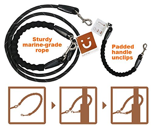 The Original Australian Heavy Duty Rope Dog Leash - sturdy & comfortable with clever handle, opens & re-clips to easily secure your - And Free Clips Brown Round