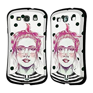 Head Case Designs Polka Rabbit Girl Hare Chic Hipsters Hybrid Gel Back Case for Samsung Galaxy S3 III I9300