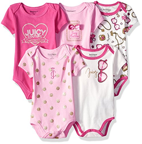 (Juicy Couture Baby Girls 5 Pack Bodysuits, Hot Pink,)