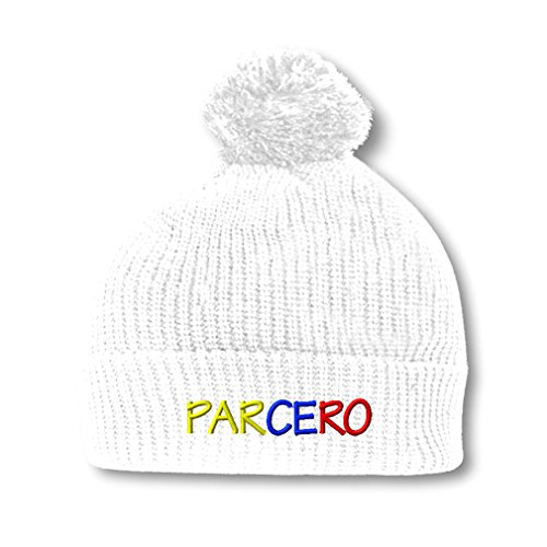 Parcero Colombiano Spanish Embroidery Embroidered Pom Pom Beanie Skully Hat Cap White - Spanish Hat With Pom Poms