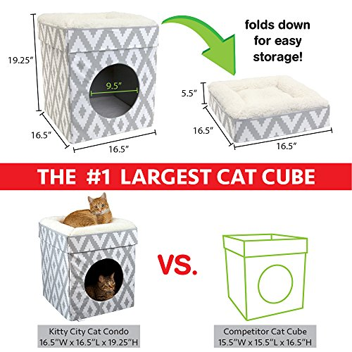 Kitty City Large Cat Bed, Stackable Cat Cube, Indoor Cat House/Cat Condo, White, 6.27 LBS
