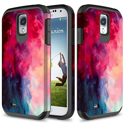 Galaxy S4 Mini Case, TownShop Hard Impact Dual Layer Shockproof Bumper Case For Samsung Galaxy S4 Mini (I9190) - Paint Clouds