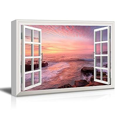 3D Visual Effect View Through Window Frame Coastal...12