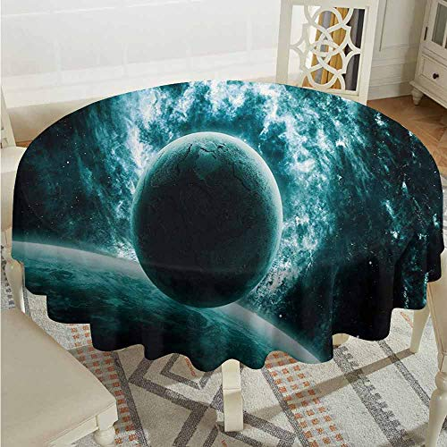 XXANS Round Tablecloth,Space,Solar System Landscape with a Planet in Vast Motion UFO Asteroid Mystic Orbit View Print,Table Cover for Kitchen Dinning Tabletop Decoratio,47 INCH,Teal ()