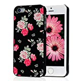 Iphone SE Case,Iphone 5S Case,Iphone 5 Case - Mavis's Diary Pink Flower Design High Quality Aluminum Slim Case Black Cover for Iphone SE 5 5S with Soft Clean Cloth