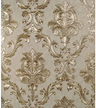 Gold Metallic Textured Damask Wallpaper Roll  Home Decor PVC Luxury Grey
