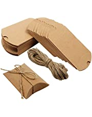 Outuxed Kraft Pillow Boxes 100pcs Small Gift Boxes, Mini Boxes for Packaging Small Business, Soap, Jewelry and Wedding Party with 100pcs Jute Twine