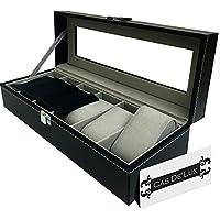 Organizador de caja de reloj Funda de almohada - 6Slot Estuches de exhibición premium de lujo con tapa de vidrio enmarcado Contraste elegante Costura sólida y segura Cerradura para hombres y mujeres