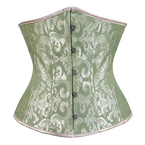 Zhitunemi Women's Lace Up Boned Jacquard Brocade Waist Training Underbust Corset Medium Green
