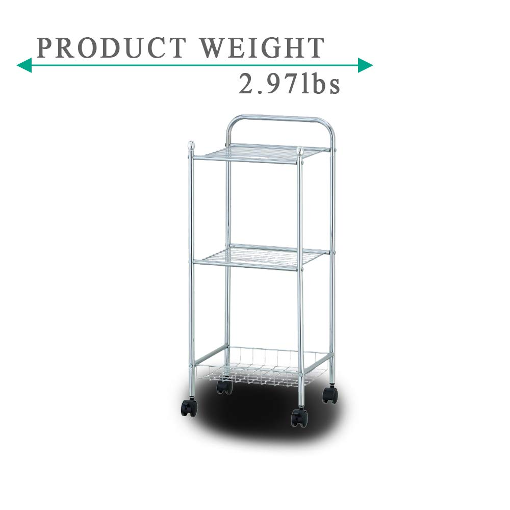 Three Tiered Serving Cart Tray Shelf Casters with Wheels Each Leg Making It Trolley Designed to Have Large Space for Oganization Made of Steel Wire Chrome Finish and Tested for Long Term Durability