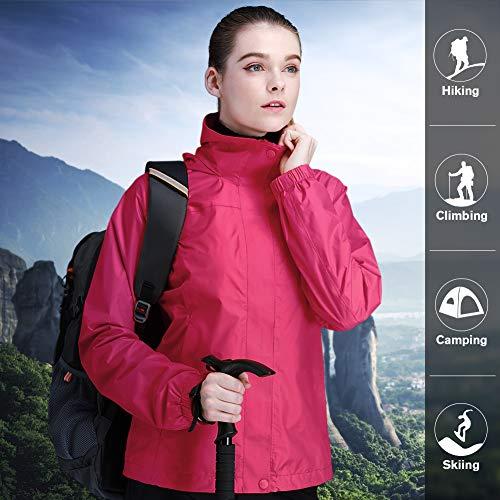 a7d37f831 CAMEL CROWN Womens Rain Jacket Waterproof Coat with Hideaway Hood ...