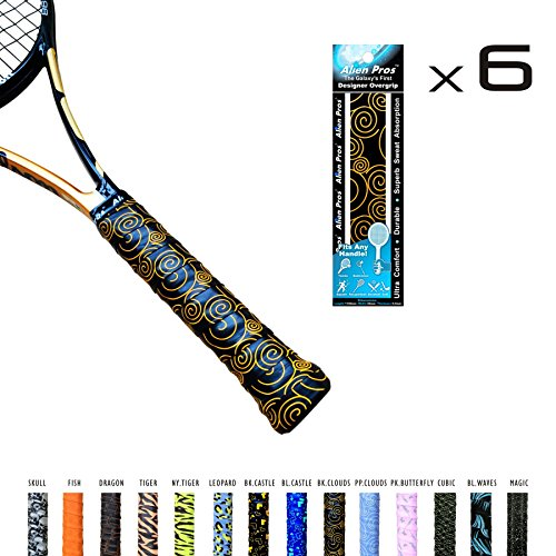 Alien Pros X-Tac Tennis Overgrip Tape perfect for your tennis racket, racquetball grip, squash racquet and more (Black Chinese Clouds, 6-Pack)
