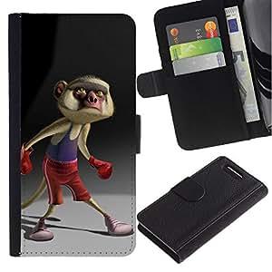 APlus Cases // Sony Xperia Z1 Compact D5503 // Mono dibujos animados Boxeo Cola Personaje // Cuero PU Delgado caso Billetera cubierta Shell Armor Funda Case Cover Wallet Credit Card