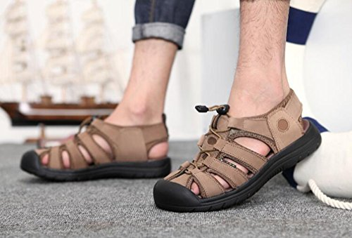 Hiking Mens Trekking Closed Summer Highdas Beach Flops Travelling Walking Shoes 18051606H Flip Leather Toe Sandals for Outdoor Khaki Sports fAAZOwdq