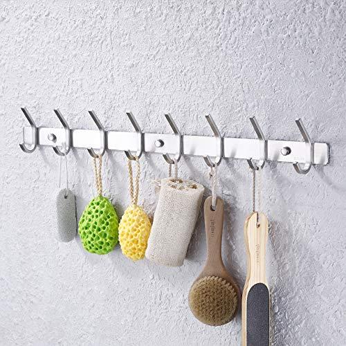 (Kes Towel/Coat Hook Rack Rail 8-Hook Shelf Robe Hanger Wall Mount, Brushed SUS 304 Stainless Steel,)
