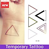 Wemore(TM)1 Sheet Overlapping Triangle Waterproof Stickers Temporary Tattoos Body Tatouage Gold Tattoos Waterproof Body Tattoo Stickers